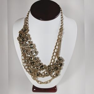 J. Crew Gold Tone Offset Green Statement Necklace